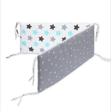 1PCS Baby Crib Cotton Bumpers In the Crib For Newborn Cotton Linen Cot Bumper Baby Bed Protector Grey Stars Print Kids Bedding 4pcs include 1pcs big crown shape crib headrest cushion 1pcs long side mesh bumper 1pcs end cotton bed bumper 1pcs bed sheet