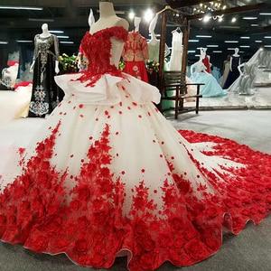 Image 4 - LSS037 אדום 3D פרחים באיכות גבוהה שמלות מהיר חינם מסין מכתף v צוואר תחרה עד בחזרה כדור שמלת שמלת ערב
