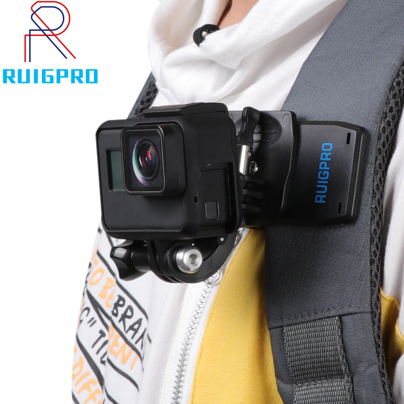 For Go Pro Accessories 360-Degree Rotation Backpack Bag Clip Clamp For GoPro Hero 8 7 6 5 4 Or Xiaomi Yi For SJCAM SJ4000 Phone