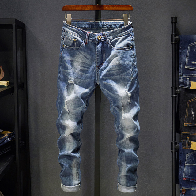 Ripped Jeans Men Slim Fit Light Blue Stretch Fashion  2
