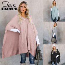 Tom Hagen Womens Cape Winter 2019 Plus Size Slim Cape Coat Poncho V Neck Cloak Long Knitted Jacket Korean Warm Luxury Grey Coat(China)
