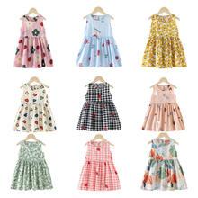 От 1 до 8 лет летнее платье для девочек принцесс хлопок вишни