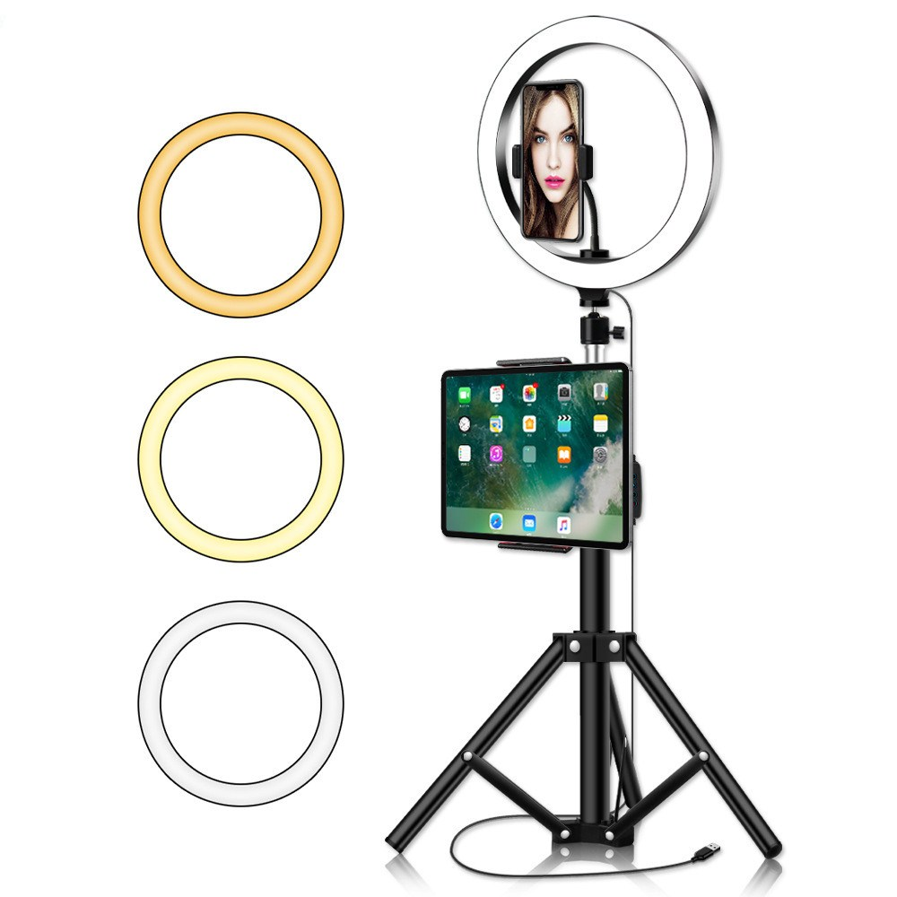 Photo Studio Selfie LED Ring Light with Mobile Phone Holder Tripods for Youtube Live Stream Makeup Live Mobile Holder Tripods