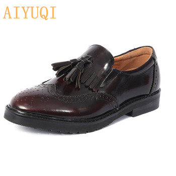 AIYUQI British Style Shoes Women 2020 Spring New Genuine Leather Women Shoes Brock Loafers Single Shoes Women