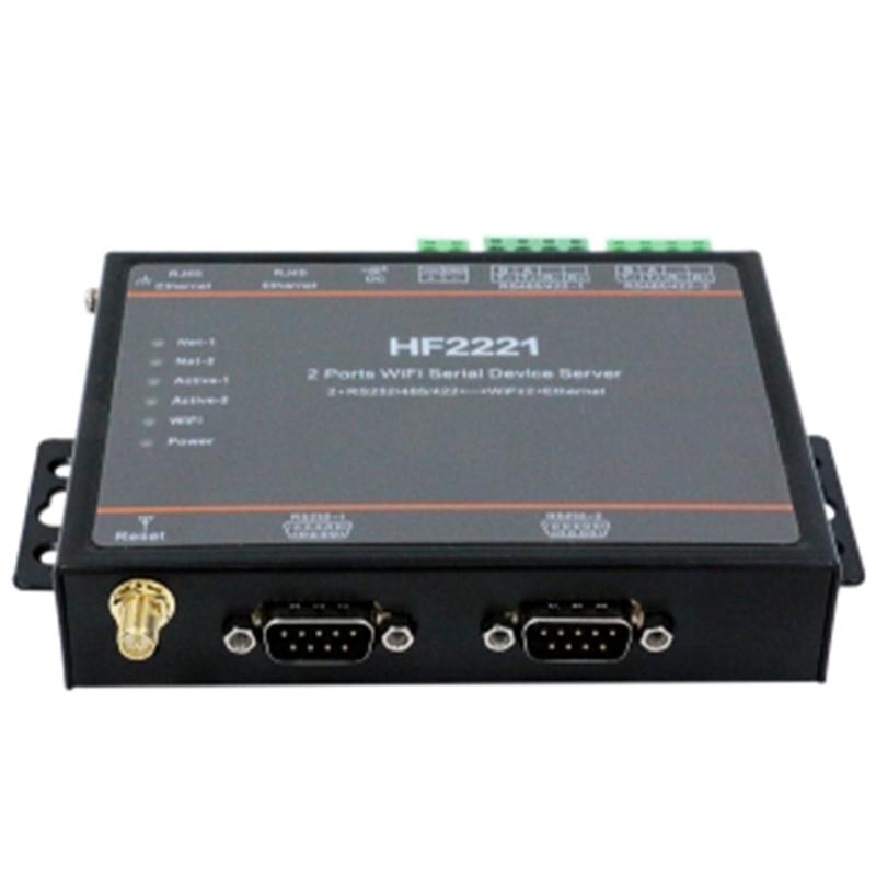 HF2221 2 Ports Wifi Serial Device Server RS232/RS422/RS485 zu Ethernet/Wi-Fi Serielle Server F22500 (EU Stecker)