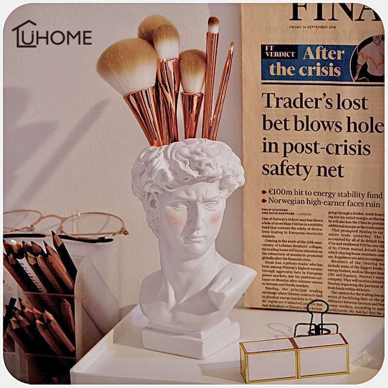 Creative David Sculpture Makeup Brush Organizer Flower Pot Imitation Plaster Vase Pen Holder Box Crafts Gifts Home Decoration