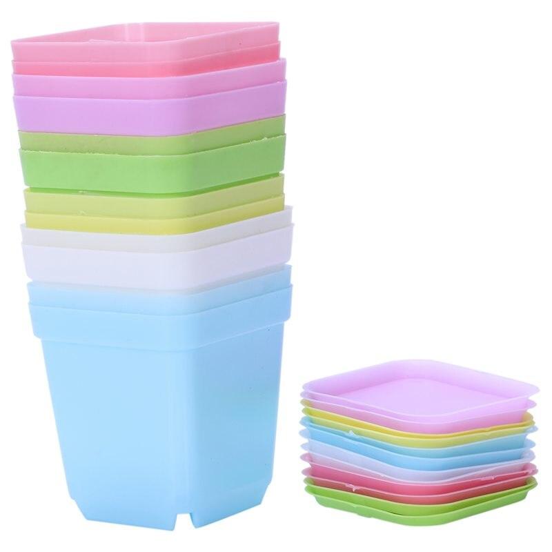 Ev ve Bahçe'ten Saksı ve Ekiciler'de Renkli plastik saksılar ile daireler  12 Set title=