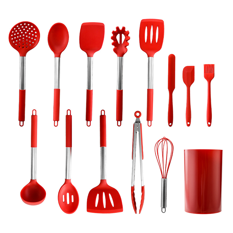 14PCS Stainless Steel+Silicone Turner Soup Spoon Strainer Pasta Server Scraper Egg Beater <font><b>Kitchen</b></font> <font><b>Tools</b></font> Cooking Utensils Set image