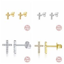 Elegant Cross Design Bridal stud Earrings Sparkling sterling silver Rhinestone Crystal Earrings For Women Wedding Jewelry A30