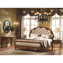 Вырезанная Роскошная двойная мягкая задняя кровать из дерева во французском стиле, дизайн для постельных комнат и прикроватный шкаф и столик для макияжа GF31