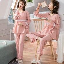 1664# 100% Cotton Maternity Nursing Sleepwear Spring Summer Sweet Breastfeeding Pajamas Sets Pregnan