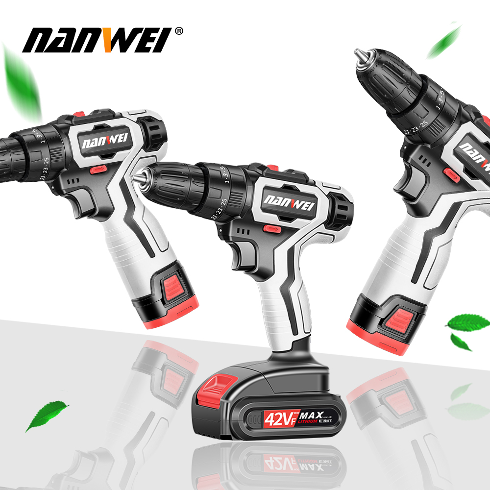 21V Cordless Impact Drill Rechargeable Electric Screwdriver Cordless Drill Mini Power DriverDC Lithium-Ion Battery 2-Speed Tool