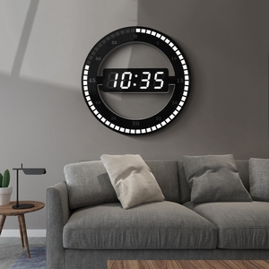 Image 5 - Relógio eletrônico 3d oco led digital ajuste automático brilho redondo casa relógio de parede com plugue dos eua plástico preto