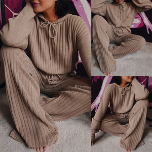 2020 Fashion Trend Women Autumn Knitting 2PCS Outfits Long Sleeve Hooded Tops High Waist Wide Leg Pants Sets Casual Lounge Wear
