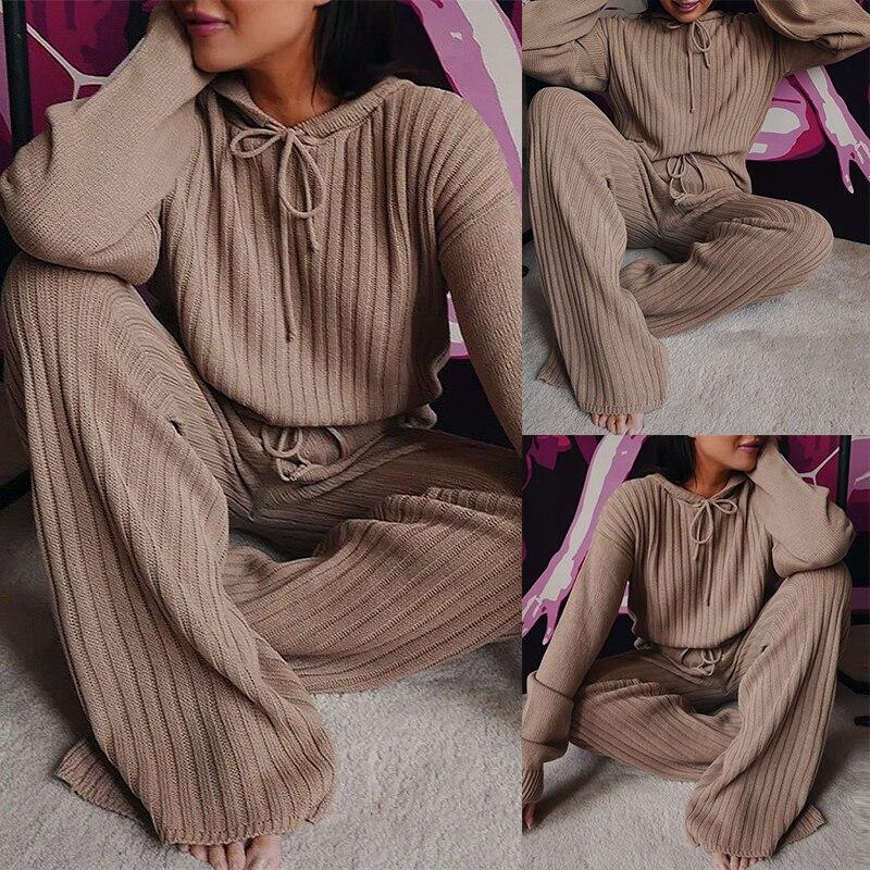 2020 tendência da moda feminina outono tricô 2 pçs outfits manga longa com capuz topos de cintura alta calças perna larga define casual lounge wear|Conjuntos femininos| - AliExpress
