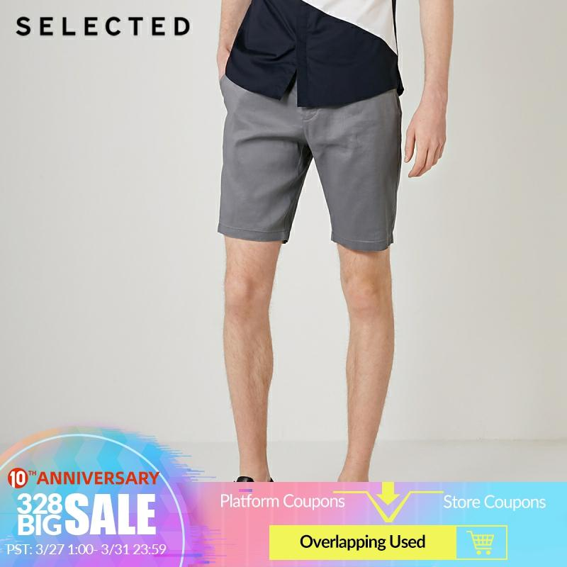 SELECTED Men Pure Color Linen Multiple Pockets Straight Fit Shorts S|4192SH539