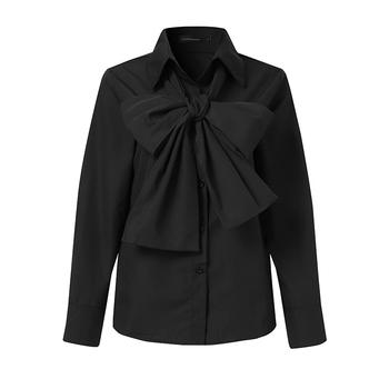 Celmia 2021 moda damski krawat z kokardką elegancka koszula z długim rękawem białe topy klapa Casual koszule do biura Plus rozmiar Blusas Femininas 5XL tanie i dobre opinie CN (pochodzenie) COTTON POLIESTER REGULAR guzik Wiosna 2021 średniej wielkości Sukno Na wiosnę jesień Proste Women White Black Blusas Femninas