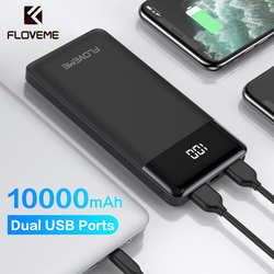 FLOVEME power Bank 10000 мАч светодиодный дисплей портативное зарядное устройство с двумя usb-портами Внешнее зарядное устройство для Xiaomi iPhone