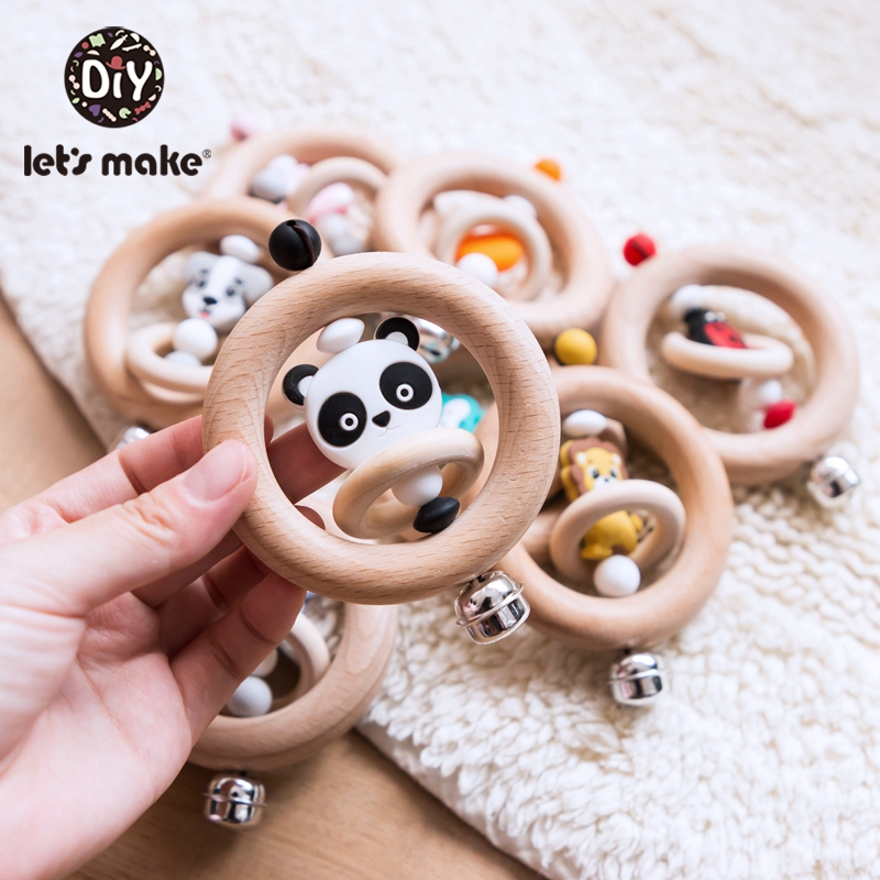 Let'S Make 1pc Miniature Animal Wood Rings Infant Baby Play Baby Rattle Baby Mobile Wood Baby Mobile Music New Born Baby Toys