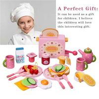 32PCS Newest Kitchen Play House Toy Set Simulation Wooden Food Toaster Milk Cutlery Pretend Mold Game For Children Gifts