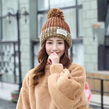 цена на Sparsil Women Autumn Knitted Warm Hat Winter Thicken Wool Fur Ball Beanies Hat Mix Color Soft Caps Girl