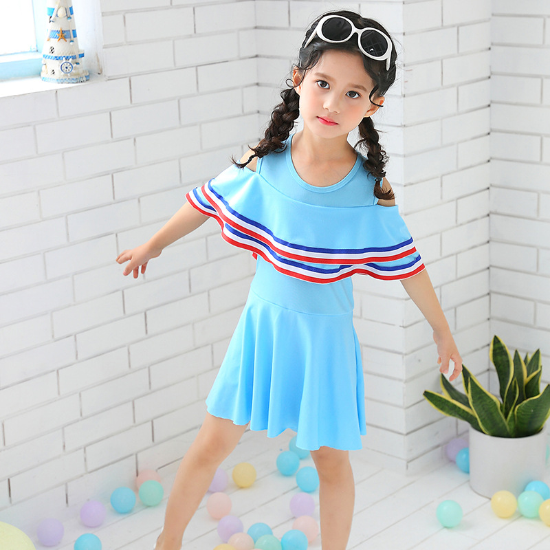 Drop Love For Water Fashion Big Kid Tour Bathing Suit Women's Large Flounced Shawl GIRL'S Swimsuit Off-Shoulder CHILDREN'S Swims