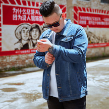 Loose large size M-5XL 6XL 7XL 8XL denim jacket men jacket coat stretch fabric brand blue male casual jacket цена