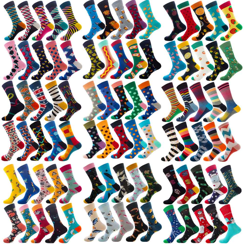 10 Pairs Colorful Mens Socks Hip-Hop Skateboard Happy Combed Cotton Funny Crew Socks For Christmas Gift Calcetines De Hombre