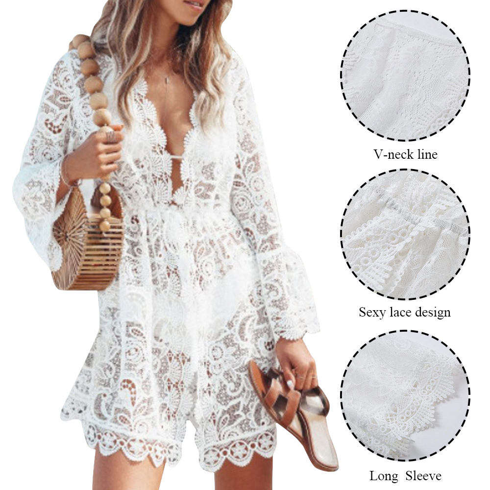 Hollow Crochet Bikini Cover Up White Lace Swimsuit Cover-Up V-Neck Floral Bathing Suit Beachwear Tunic Beach Dress 2021 Swimwear