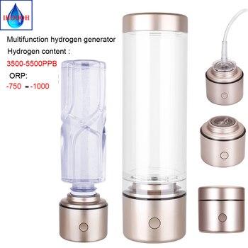 Botella de agua de Nanometre rico en hidrógeno, membrana de iones electrolíticos, portátil, multifuncional, generador de hidrógeno H2 IHOOOH