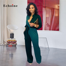 Echoine Women Jumpsuits Patchwork Color Block Stand Collar Streetwear Button Sash Lace Up Nightclub Rompers Modern Lady Clothes