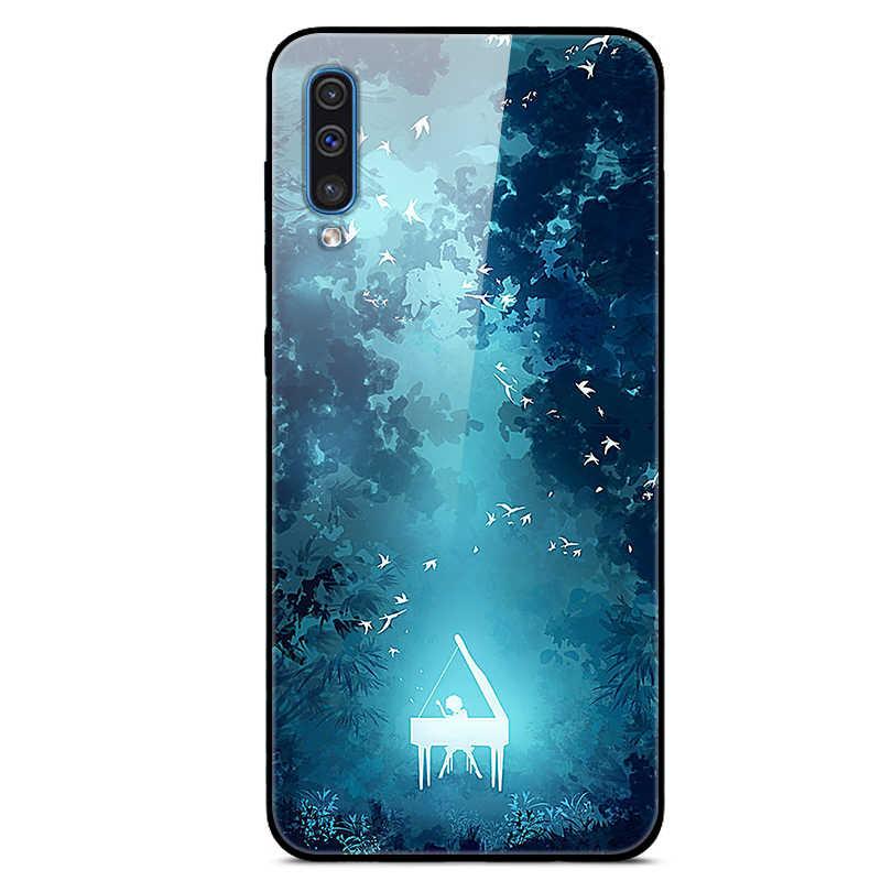 Para Samsung Galaxy A50 funda de vidrio duro contraportada para Samsung A10 A20 A30 A40 A70 funda de silicona para el teléfono móvil parachoques Coque A 50 2019