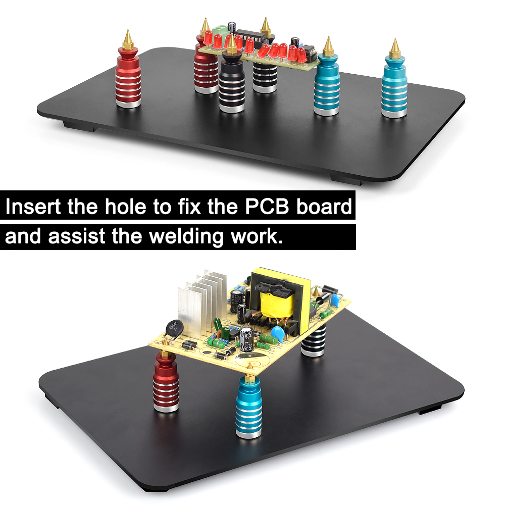 Tools : NEWACALOX Soldering PCB Clip Welding Helping Hands 6PC Magnetic Base PCB Fixture Clamp Third Hand Tools Soldering Repair Tool