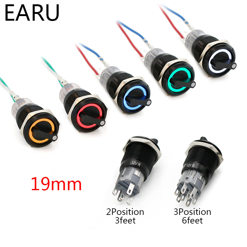 19mm Black Self-return Momentary Self-locking Fixation Waterproof DPDT Illuminated Metal Selector Rotary Switch 2/3 Position LED