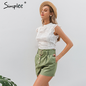 Image 2 - Simplee  Casual green women summer shorts Sash belt cotton female shorts Office work ladies buttons shorts streetwear bottoms
