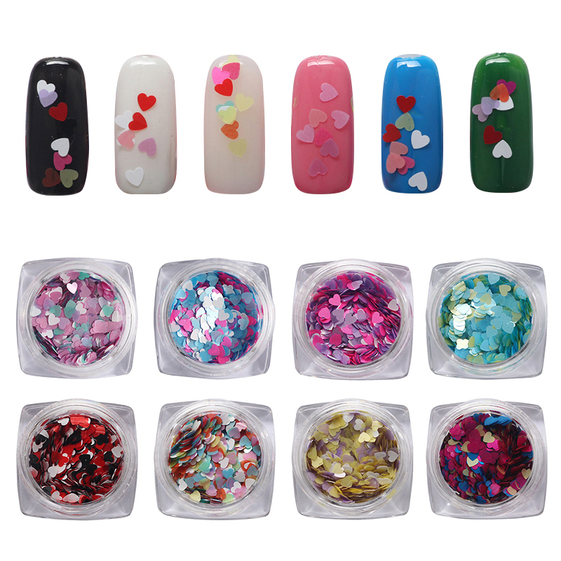 Hot 12 Color DIY Nail Jewelry Supplies Wholesale Symphony Sequin Heart-shaped Nail Accessories 3d Nail Art  Decoration