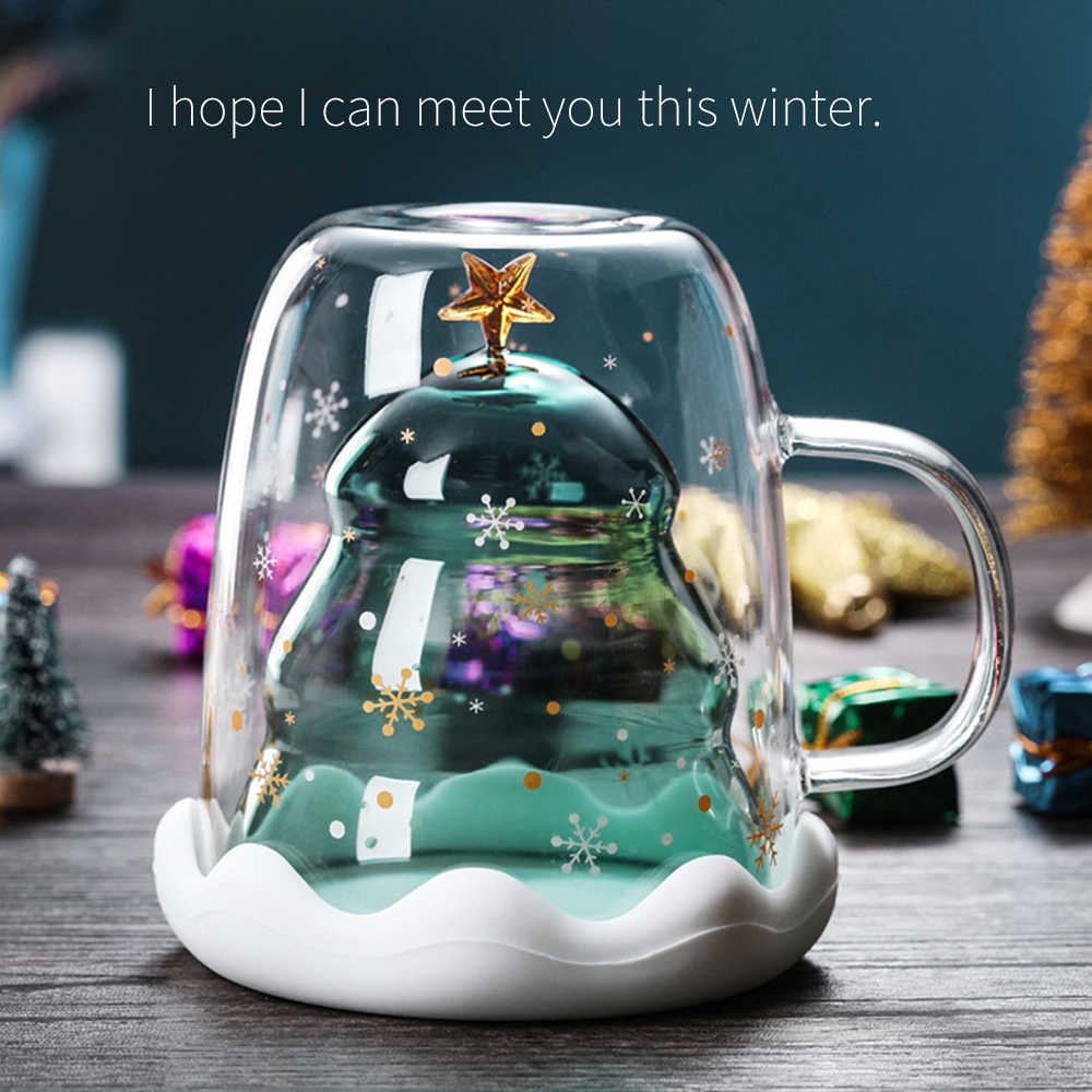 Christmas Temperature In 2020 2020 Creative Christmas Mug Glass Christmas Tree Star Cup High