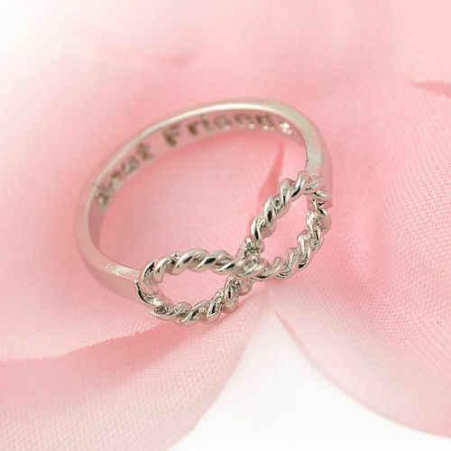 แฟชั่นผู้หญิงหญิงสาวจดหมายเพื่อนที่ดีที่สุด Gold Silver Infinity 8 Bow Knot มิตรภาพแหวน