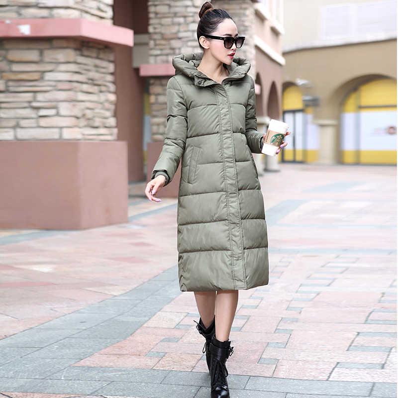 Wadded Donne Giacca Parka Caldo di Vendita Caldo di Inverno Del Cotone Imbottito Cappotti Lunghi Delle Donne Cappuccio di Spessore Sottile Abrigos Mujer LX118