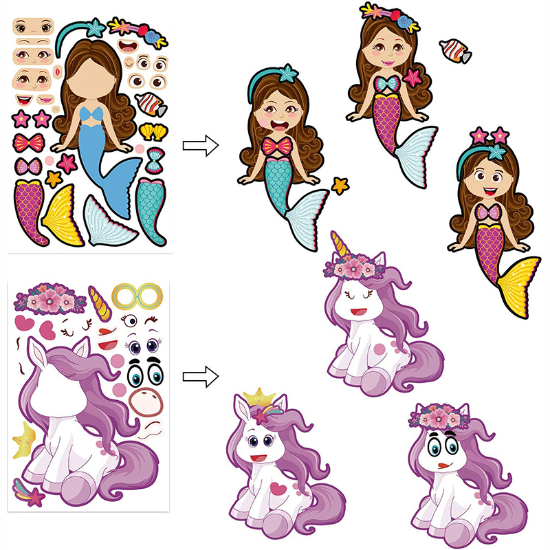 8/4sheets Children DIY Stickers Make Your Own Face Puzzle Sticker Games Cartoon Animal Princess Fun Gift For Kids Creative Toys 3