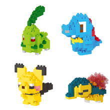 LNO Mini Building Blocks Pocket Monsters Cyndaquil Chikorita Totodile Cartoon Figures Games Toys for Children Mirco Block lno 217pcs charizard pokemon building block