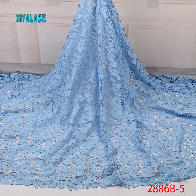 Hot Sell Fashion Africa Printing Wax Fabric 100% Polyester High Quality Petals Embroidery Wax Sewing Material 5yards YA2886B-5