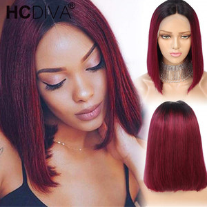 13*2 Lace Part Human Hair Wigs Middle Part Short Remy Wig For Women perruque cheveux 1B/99J perruques bresiliens cheveux humain(China)