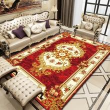 Alfombra grande geométrica abstracta Europea suave Vintage oro alfombra roja antideslizante sala de estar dormitorio alfombra