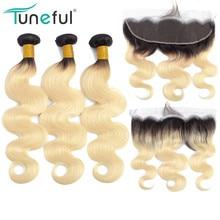 1B 613 בלונד חבילות עם פרונטאלית ברזילאי גוף גל רמי שיער טבעי הרחבות כהה שורשים רוסית דבש חבילות עם פרונטאלית