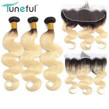 Extensiones de cabello humano Remy 1B 613 rubio con ondas frontales brasileñas, raíces oscuras, mechones de miel rusos con Frontal