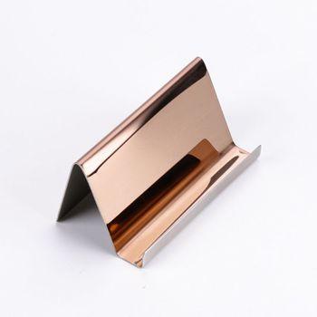 Soporte para tarjetas empresariales de acero inoxidable de alta gama, estante de exhibición, organizador de mesa de escritorio, 2 colores