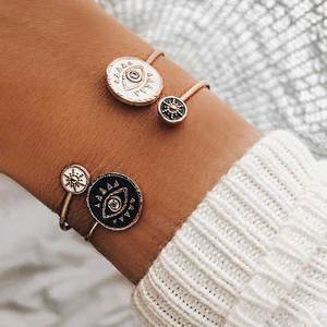 2020 New Vintage Open Bracelet Enamel Black White Evil Eye Gold Bangles Bracelets For Women Fashion Female Bracelet Jewelry(China)