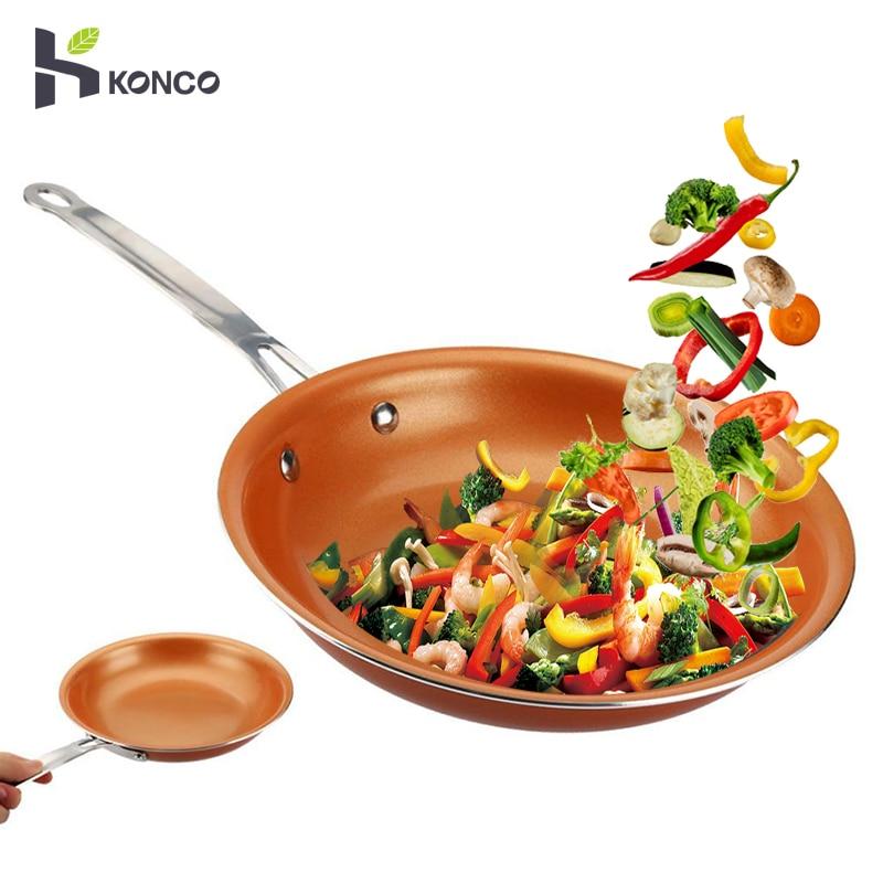 KONCO антипригарные медные сковороды и сковородки с керамическим покрытием индукционная печь для приготовления пищи кастрюля антипригарная ...