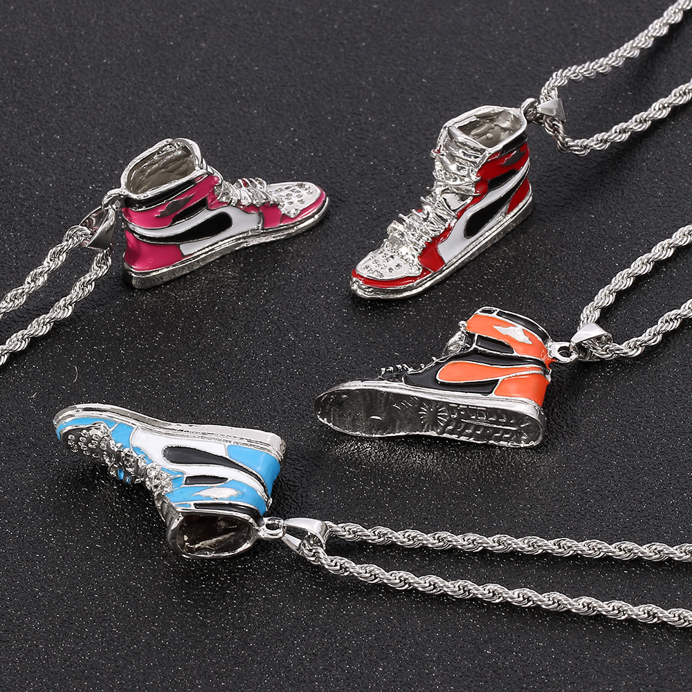 Mini Hip hop Sneaker Pendant Necklace Cool Collar Fashion Male Street Style Rapper Cute Necklace Christmas Gift For Friend Pendant Necklaces  - AliExpress